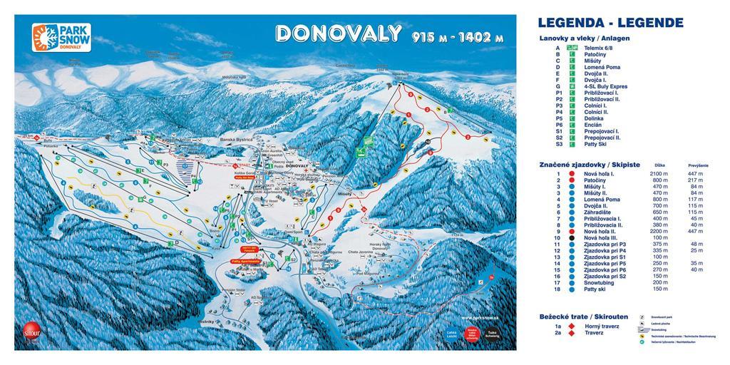 Mapa zjazdoviek Donovaly