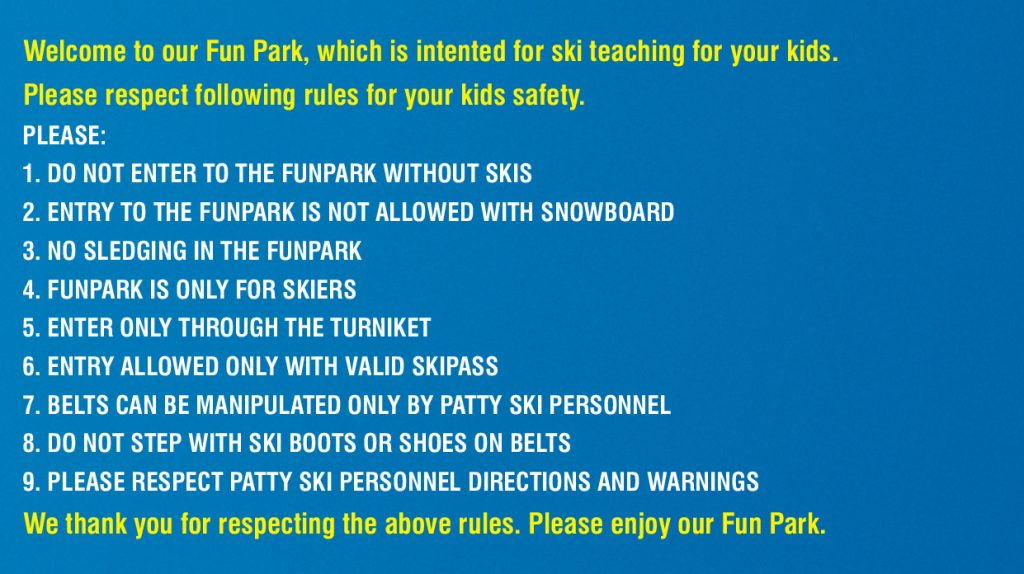 Funpark rules and regulations